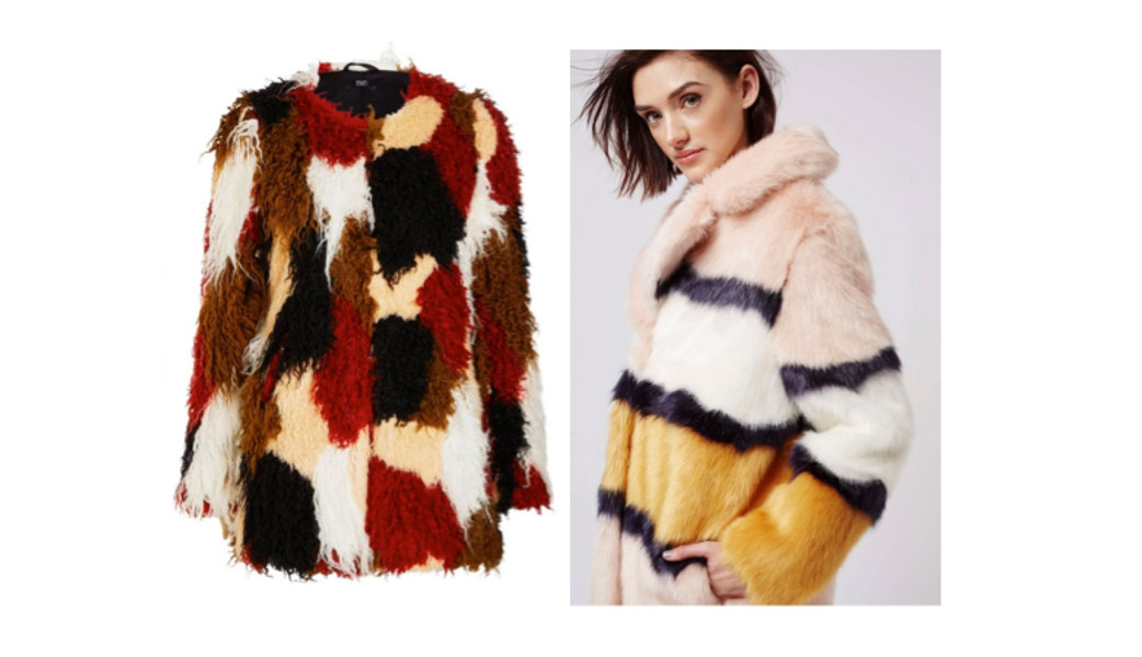 cee5057fca7 Patchwork faux fur jacket Florence and Fred (£39) 7.Multi-coloured striped  Faux fur Top Shop (£125)